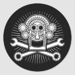 Gearhead -bw round stickers