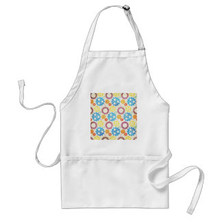 gears01 COLORFUL GEARS PATTERNS YELLOW PURPLE BLUE Apron