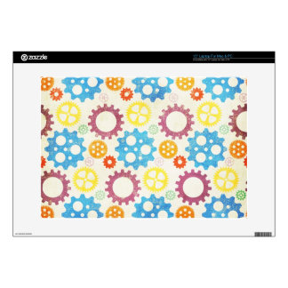 gears01 COLORFUL GEARS PATTERNS YELLOW PURPLE BLUE Decals For Laptops