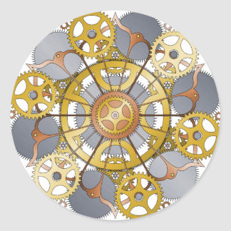 Gears and Cogs Mandala Design Classic Round Sticker