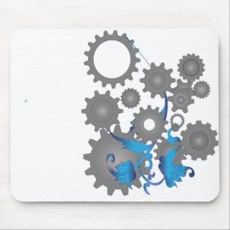 Gears and flowers mouse pad