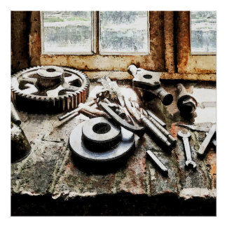 Gears and Wrenches in Machine Shop Poster