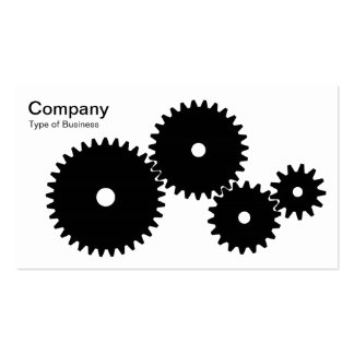 Gears - Black on White Business Card