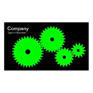 Gears - Green on Black Business Card