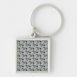 Gears in Black and White Keychain