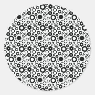 Gears in Black and White Round Sticker