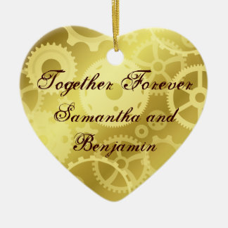 Gears in gold Together Forever commemorative Double-Sided Heart Ceramic Christmas Ornament