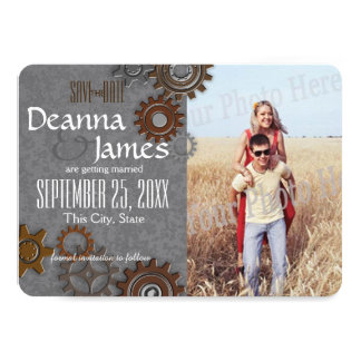 Gears Industrial Steel Grey Save the Date Card