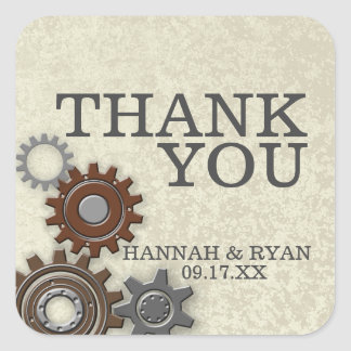 Gears Industrial Thank You Square Sticker