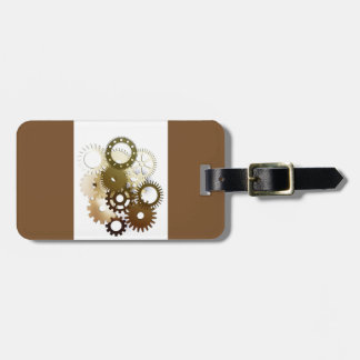 Gears Modern Brown Luggage Tag With Leather Strap