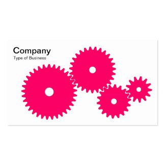 Gears - Neon Red on White Business Card