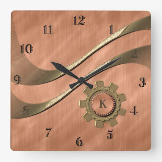 Gears on Copper Square Wall Clock