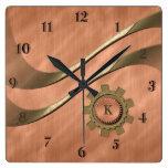 Gears on Copper Wall Clock