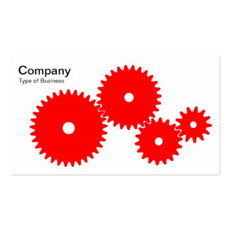 Gears - Red on White Business Card