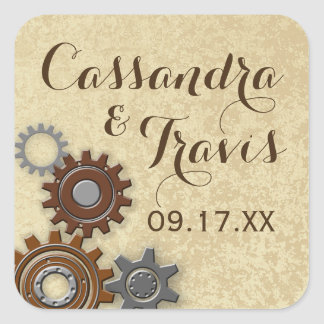 Gears Rustic Industrial Square Sticker