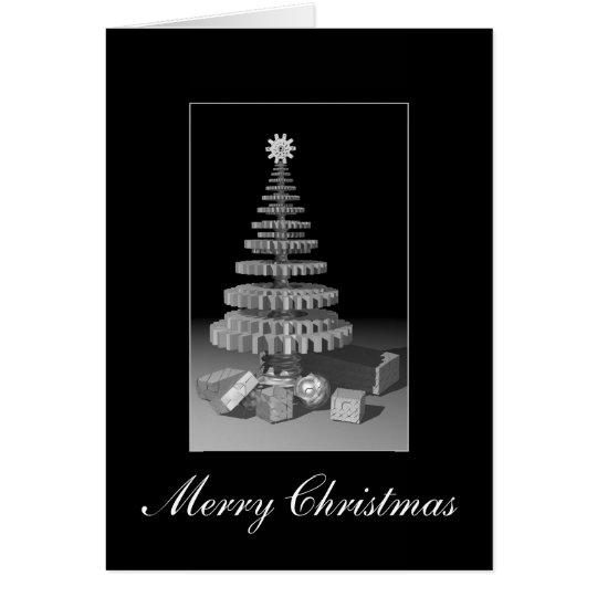 Gearwheel Christmas Tree Greeting Card