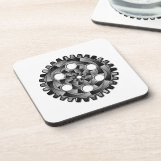 Gearwheel in black and white coaster