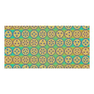 Gearwheels pattern photo card
