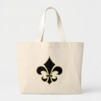 Geaux Black Gold Fleur De Lis Tote Bag