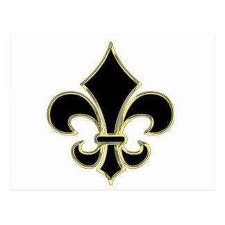 Geaux Black & Gold Fleur De Lis Postcard