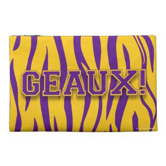Geaux!  Purple & Gold Tiger Stripe Travel Accessory Bag