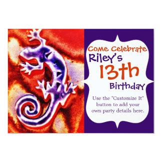 """Gecko anaranjado púrpura azul enrrollado del invitación 5"""" x 7"""""""