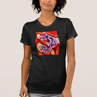 Gecko anaranjado púrpura azul enrrollado del camisetas