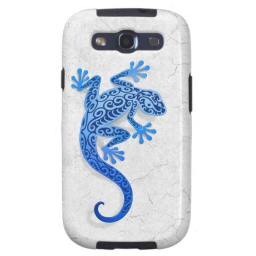 Gecko azul que sube en una pared blanca samsung galaxy SIII funda