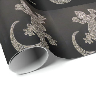 Gecko Black and White Wrapping Paper
