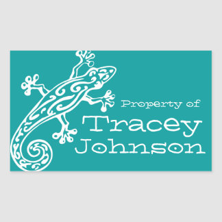 Gecko book plate name teal white id label sticker