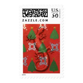 Gecko Christmas postage stamp
