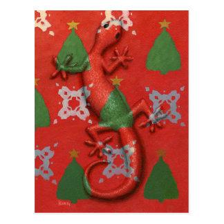 Gecko Christmas postcard