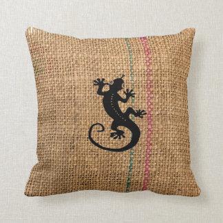 Gecko Coffee Bag Throw Pillows