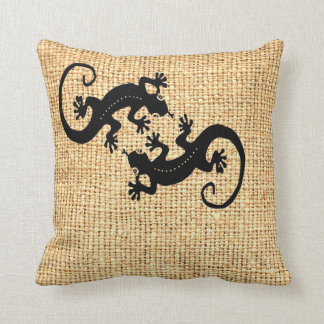 Gecko Coffee Bag Throw Pillow