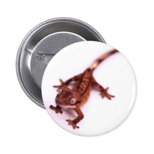 Gecko con cresta que camina en un ángulo pin redondo 5 cm