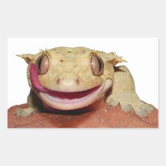Gecko con cresta que sonríe y que se lame rectangular pegatina