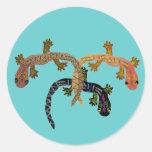 Gecko Dance Round Stickers