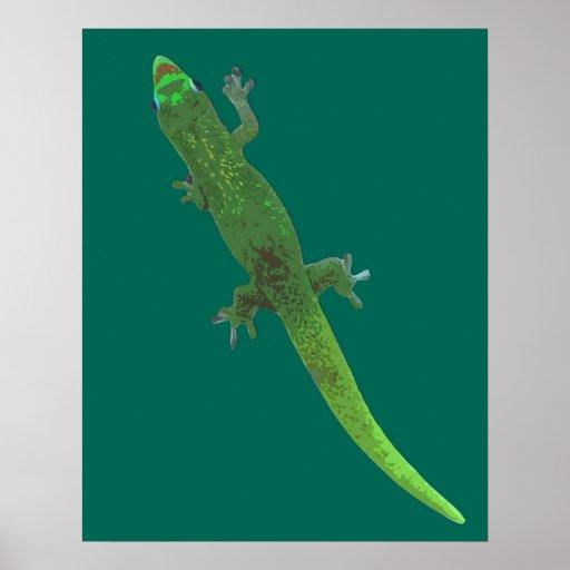 Gecko de Digitaces en el poster verde
