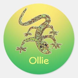 Gecko de Ollie/pegatina 1 del Salamander/del Pegatina Redonda