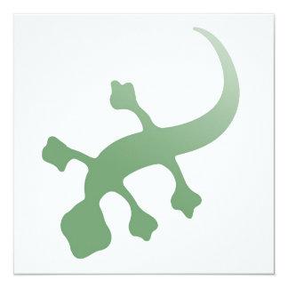 """Gecko de Poetica en verde Invitación 5.25"""" X 5.25"""""""