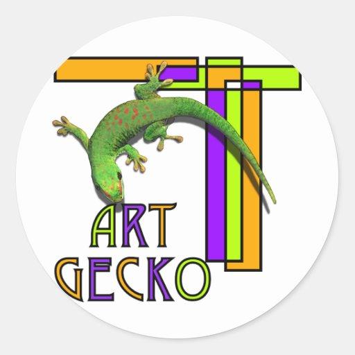gecko del arte pegatina redonda