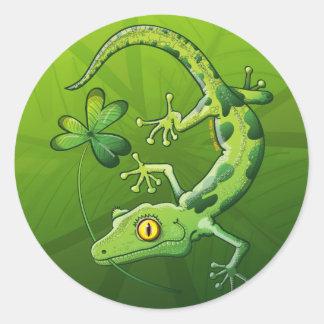 Gecko del día de San Patricio Pegatina Redonda