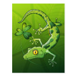Gecko del día de San Patricio Postales