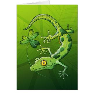 Gecko del día de San Patricio Tarjeta De Felicitación