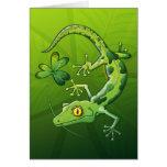 Gecko del día de San Patricio Tarjetas
