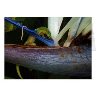 Gecko del día del polvo de oro en la flor felicitaciones