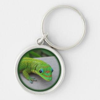 Gecko del día del polvo de oro - haga una prueba y llavero redondo plateado