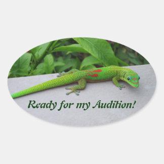 Gecko del día del polvo de oro - haga una prueba y colcomanias oval