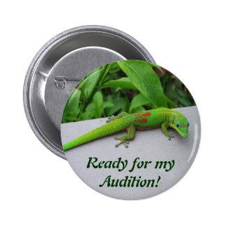Gecko del día del polvo de oro - haga una prueba y pin redondo de 2 pulgadas