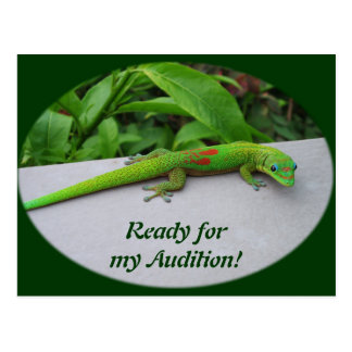 Gecko del día del polvo de oro - haga una prueba y postales